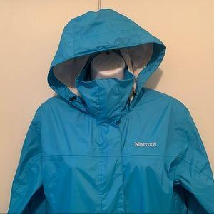 Marmot blue raincoat sz M w logo on shoulder